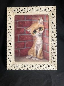 Vintage 1960's Pity Kitty Big Eye Kitty Print In Plastic Frame