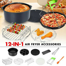 8'' New Universal 11pcs Hot Air Fryer Kits w/Cake Cup/Cake Basket (5.2QT-8QT)