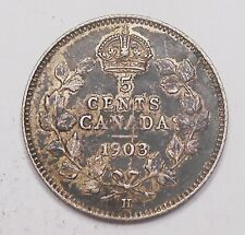 1903H SMALL H Five Cents Silver EF Beauty HIGH Grade TONED Edward VII Canada 5¢