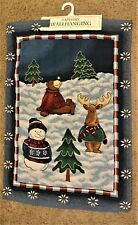 "TAPESTRY WALL HANGING Winter Play Snowman Moose Snow Bear Trees 25X36""   B"