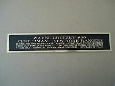 Wayne Gretzky Rangers Engraved Nameplate For A Hockey Stick Display Case 1.5 X 8