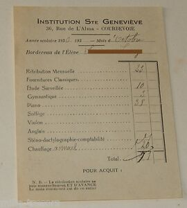 Ancien document Facture ECOLE INSTITUTION STE GENEVIEVE - Année Scolaire 1930