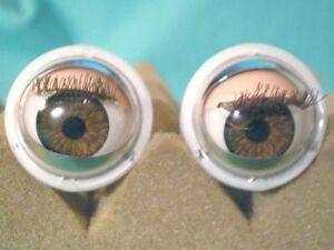 """Vintage plastic capsule eyes, blinking eyes, blinker eyes (brown), 0.79"""" (20 mm)"""