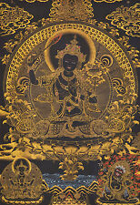 "32"" EMBROIDERED BROCADE WOOD SCROLL TIBETAN THANGKA: BLACK MANJUSHRI"
