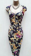 14 UK Karen Millen Daisy Floral Leather Brooch Galaxy Pencil Dress Party Races