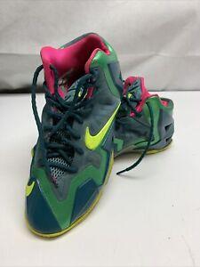 Nike LeBron  11 GS 'T-Rex' Dark Sea Volt-Green Shoes Kix 621712-300 US 7Y LG