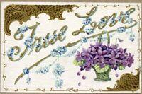 """Vintage Romantic Embossed Postcard """"True Love"""" Purple Violets"""