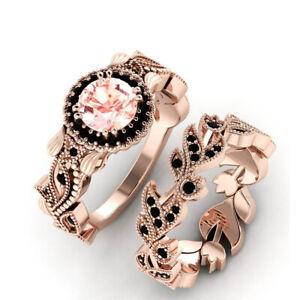 2Pcs/Set Fashion 925 Silver Jewelry Women Black Sapphire Wedding Rings Size 6-11