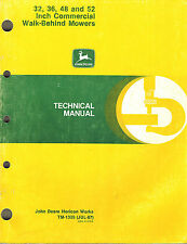 """JOHN DEERE 32 36 48 52-INCH COMMERCIAL WB MOWERS TECHNICAL MANUAL jd """"NEW"""""""