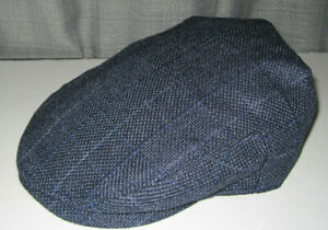 NEW STETSON driving cap Hat NAVY BLUE CHEX PLAID large / xl