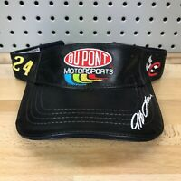 Vintage JEFF GORDON Chase Authentics Black Leather Visor Hat Cap NOS with Tags