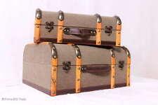 """Retro! Oldtimerkoffer Koffer Halbrund Holzleisten Koffer 2 Größen """"M"""" Nice Jute"""
