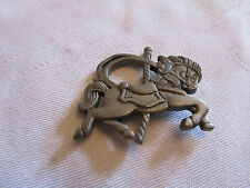 "Grey Pewter Carousel Horse Brooch of Unknown Vintage - 1.75"" across"