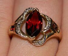 Gorgeous 10K Marquise Cut Garnet Ring with Accent Diamonds and Garnets Size 7