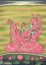 Krishna Radha Lotus Lovers Indian Miniature Painting Hand Painted Hindu Folk Art