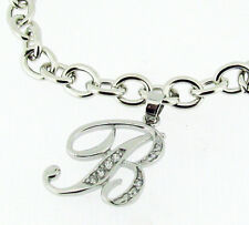 """Sterling Silver Link Bracelet with Personalized Script Initial Charm 7"""" A - Z"""