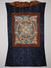 HAND PAINTED BUDDHA MANDALA THANGKA BEAUTIFULLY FRAMED WITH SILK BROCADE