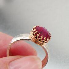 Hadar Designers Filigree 9k yellow Gold 925 Silver Ruby Ring 6,7,8,9.5 (I r343)y