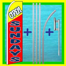 Open Sundays 15' Tall Swooper Flag Kit Advertising Feather Flutter Bow Banner