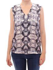 NWT $500 Arzu Kaprol Gray Blue Silk Sleeveless Top Shirt Blouse IT40/US6/EU36/S