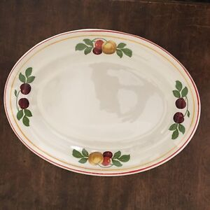 Vtg Steubenville China Platter Autumn Fruit Print Apples Cherries 1930s Dinner
