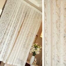 Baroque Lace Voile Curtain Panel Floral Net Window Drape Divider Pastoral Decor