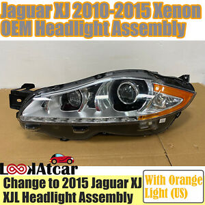 Jaguar XJ Xenon Headlight Assembly With Orange Part 2010-2015 XJL Left Headlamp