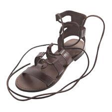 Sandali da donna MADE IN ITALY bassi in cuoio e pelle gladiatore alla schiava