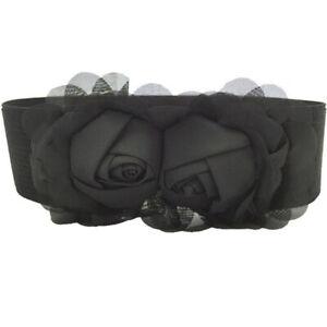 Women Fashion Elastic Buckle Belt Wide Rose Waistband Corset Stretch Belts SG