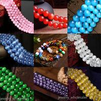 50Pcs Natural Cat Eye Gemstone Stone Loose Spacer Beads Jewelry Finding DIY 8MM