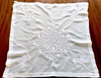 Vintage Hand Embroidered White Cotton Lawn Panel CHRISTMAS TREE & BIRDS