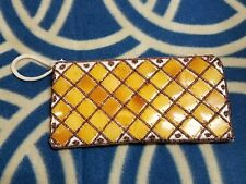 """Women's Used White Satin Round Square Beads Beaded Zippered Pouch 7 1/2"""" X 4"""""""