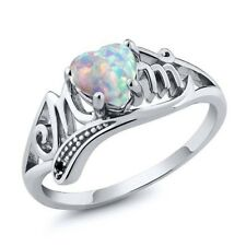 White Fire Opal 925 Silver Women Mom Gift Wedding Engagement Ring Size 6-10