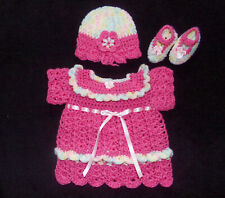 Crochet Pink Baby Girl or Reborn Doll Dess Hat and Shoes Handmade 0-3 months