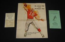 1962 HIGH SCHOOL FOOTBALL PROGRAM Mt Lebanon vs Washington PITTSBURGH + Schedule