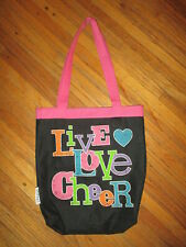 Chasse Live Love Cheer Tote Bag Cheerleading Cheerleader Black Pink Handles