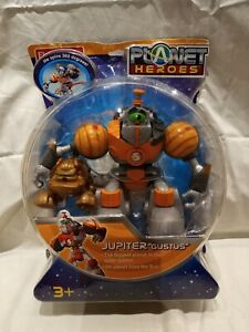 """2006 Planet Heroes Jupiter """"Gustus"""" Action Figure with Companion Dog NEW Sealed"""