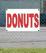 2x3 Donuts Red & White Banner Sign New Discount Size & Price Free Ship