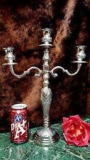 FAB ORNATELY DETAILED Silver Plate 3 Arm Candelabra HAND CRAFTED INDIA NEW!