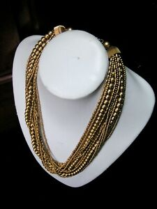 LARGE MULTI - STRANDED GOLD TONE STATEMENT NECKLACE - UNKNOWN PERIOD - NICE COND