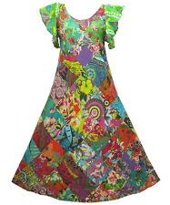 Peasant Boho Hippie Diamond Patchwork Short Sleeve Long Dress  YE851
