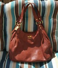 Authentic COACH Madison Maggie Brown Leather Hobo Handbag 14336