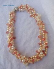 """4 Strand Pearl Torsade 18"""" Artisan Necklace White Champagne Peach w Rose Crystal"""