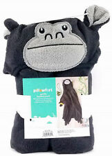 "Pillowfort Gorilla Hooded Towel Kids Bath 30"" x 50"" Black/ Gray - nwt"