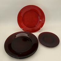 """Ruby Red Glass 9"""" Luncheon Dinner Bread Butter Plates Lot of 6"""