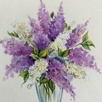 Vintage Birthday Greeting Card Vase Of Lilacs Flowers Hallmark Lavender Purple