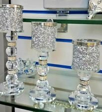 Set Of 3 Candle Holder Sparkly Silver Diamond Crush Crystal Faceted Balls