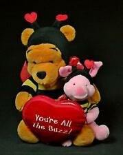 """Vintage Disney Store 12"""" Plush Valentine's Day Pooh Gram """"You're All The Buzz"""""""