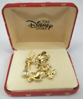 Disney Dopey doppey Snow White 7 Dwarfs Gold Brooch Pin Lantern VINTAGE UNUSED
