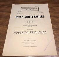 """WHEN MOLLY SMILES"". Words-Anonymous (c.1730), Music-Hubert Wilfrid-Jones. 1924"